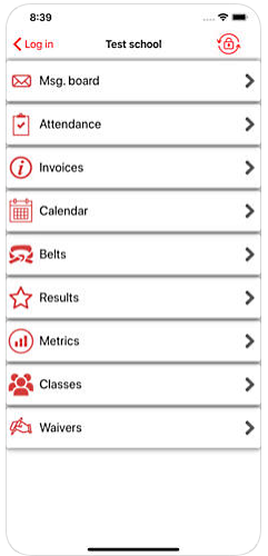 Martial art student login app