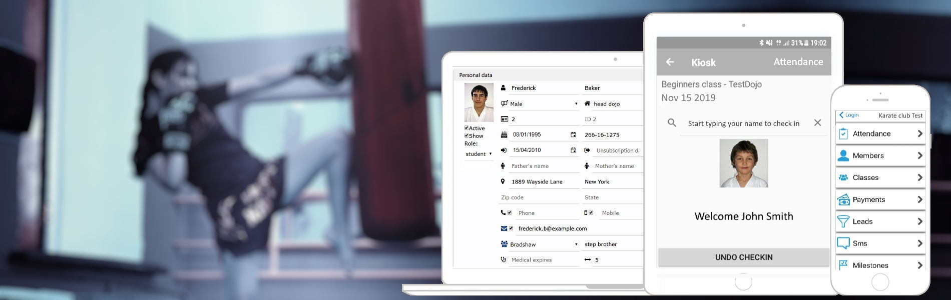 Software for martial art school management and attendance