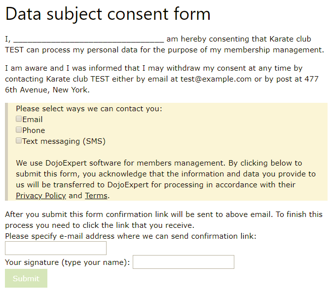 GDPR consent form example