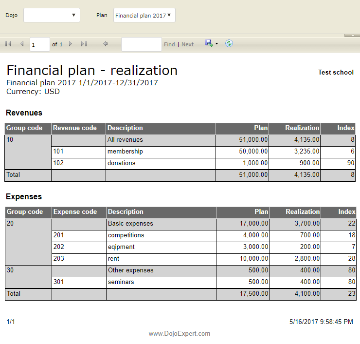 financial plan report